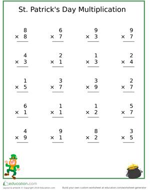 St Patricks Day Multiplication exercise