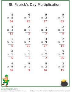 St Patricks Day Multiplication exercise answer key