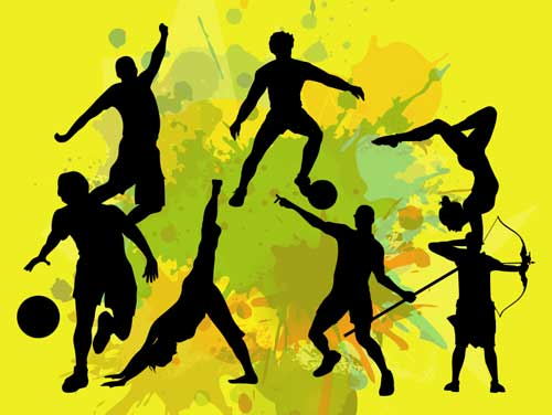graphic of sport silhouettes against a yellow background